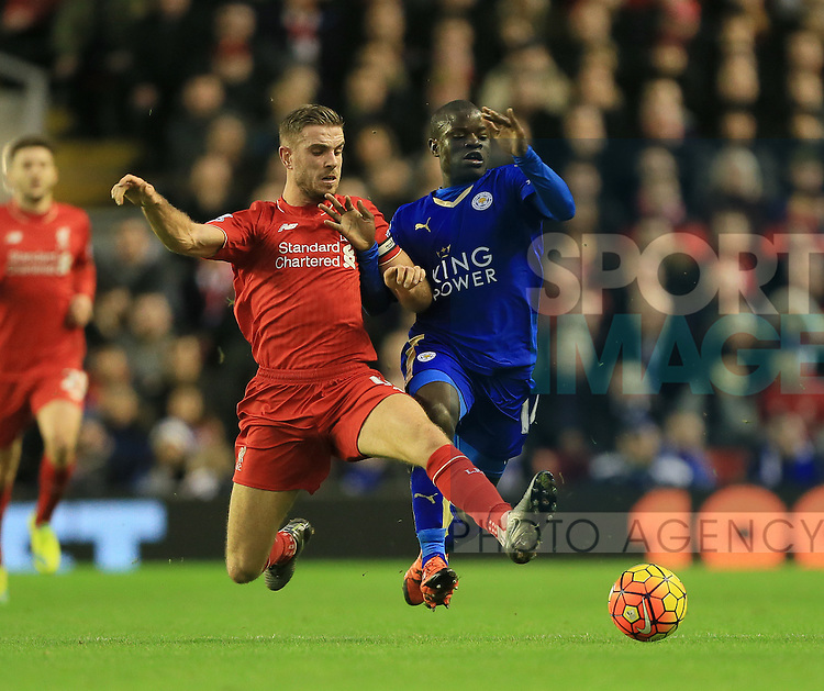 Liverpool's Jordan Henderson tussles with Leicester's N'Golo Kante<br /> <br /> Barclays Premier League- Liverpool vs Leicester City - Anfield - England - 26th December 2015 - Picture David Klein/Sportimage