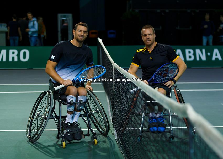 Rotterdam, The Netherlands, 9 Februari 2020, ABNAMRO World Tennis Tournament, Ahoy, Wheelchair tennis: Joachim Gerard (BEL), Maikel Scheffers (NED).<br /> Photo: www.tennisimages.com