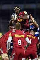 John Okafor of Harlequins A wins the ball at a lineout. Aviva A-League match, between Bath United and Harlequins A on March 26, 2018 at the Recreation Ground in Bath, England. Photo by: Patrick Khachfe / Onside Images