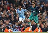 Manchester City's Raheem Sterling gets away from Tottenham Hotspur's Dele Alli<br /> <br /> Photographer Rich Linley/CameraSport<br /> <br /> UEFA Champions League - Quarter-finals 2nd Leg - Manchester City v Tottenham Hotspur - Wednesday April 17th 2019 - The Etihad - Manchester<br />  <br /> World Copyright © 2018 CameraSport. All rights reserved. 43 Linden Ave. Countesthorpe. Leicester. England. LE8 5PG - Tel: +44 (0) 116 277 4147 - admin@camerasport.com - www.camerasport.com