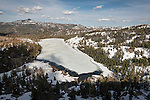 Red Lake frozen over in spring, Hawkins Peak, Carson Pass, Sierra Nevada, Calif.
