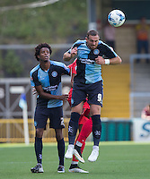 Paul Hayes of Wycombe Wanderers wins the ball in the air during the Sky Bet League 2 match between Wycombe Wanderers and York City at Adams Park, High Wycombe, England on 8 August 2015. Photo by Andy Rowland.
