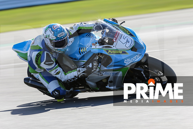 Dean HARRISON (5) of the BSB Silisone Engineering Racing (Kawasaki) race team during Free Practice 1 at Round 9 of the 2018 British Superbike Championship at Silverstone Circuit, Towcester, England on Friday 7 September 2018. Photo by David Horn.