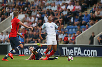 Ole Selnaes of Norway  brings down Ruben Loftus-Cheek (Chelsea) during the International EURO U21 QUALIFYING - GROUP 9 match between England U21 and Norway U21 at the Weston Homes Community Stadium, Colchester, England on 6 September 2016. Photo by Andy Rowland / PRiME Media Images.