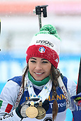 17th March 2019, Ostersund, Sweden; IBU World Championships Biathlon, day 9, mass start women; Dorothea Wierer (ITA) shows her 3 medals from the competition