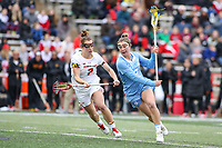 College Park, MD - February 24, 2019: North Carolina Tar Heels Jamie Ortega (3) attempts a shot during the game between North Carolina and Maryland at  Capital One Field at Maryland Stadium in College Park, MD.  (Photo by Elliott Brown/Media Images International)