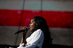 Azaelia Banks performs on stage at the Coachella Valley Music and Arts Festival in Indio, California April 10, 2015. (Photo by Kendrick Brinson)
