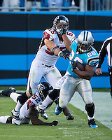 The Carolina Panthers defeated the Atlanta Falcons 34-10 in an inter-division rivalry played in Charlotte, NC at Bank of America Stadium.  Carolina Panthers running back Jonathan Stewart (28), Atlanta Falcons outside linebacker Paul Worrilow (55)