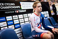 Picture by Alex Whitehead/SWpix.com - 03/03/2018 - Cycling - 2018 UCI Track Cycling World Championships, Day 4 - Omnisport, Apeldoorn, Netherlands - Ellie Dickinson of Great Britain prepares to compete in the Women's Individual Pursuit qualifying.