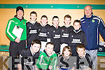 Listowel under thirteen soccer team who took part in the Community Games Indoor Soccer Tournament at the Community Centre Listowel on Sunday. Darra Hughes, Joe Joe Grimes, Aidan Quinn Adam O'Rourke, , Bill O'Flynn, Paul Kerin, Christian Elbell and Mark Kennedy  with Eddie Horgan and Liam Kennedy..