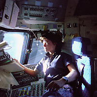 June 18 , 1983 , - File Photo - Sally Ride , First American woman in space.<br /> <br /> Sally Kristen Ride (born May 26, 1951) is an American physicist and a former NASA astronaut who in 1983 became the first American woman to reach outer space. [1][2]. She was preceded by two Soviet women, Valentina Tereshkova (1963) and Svetlana Savitskaya (1982). At the time, she was the youngest American to enter outer space. She was married for a time to NASA Astronaut Steve Hawley.