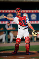 Harrisburg Senators catcher Raudy Read (8) throws to first base during a game against the Erie SeaWolves on August 29, 2018 at FNB Field in Harrisburg, Pennsylvania.  Harrisburg defeated Erie 5-4.  (Mike Janes/Four Seam Images)