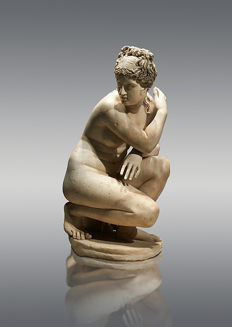 Lely's Venus (Aphrodite) Greek goddess of love, 1st 2nd century Roman Copy of a lost Greek original. This style of Aphrodite statue is known as the Crouching or bathing Aphrodite. Her arms stretch across in front of her and her right hand gently touches her right shoulder hiding her breasts. she looks to one side in surprise as if disturbed whilst bathing. Walking around the statue reveals 4 distinct viewpoints that tantalise the viewer and reveal nothing of Aphrodites nakedness. This statue is a  2nd century Roman copy of a lost Greek. Hellanistic original of the mid 3rd century BC Bronze attributed to the Greek sculptor Doldalsas of Bethynia. British Museum, London.