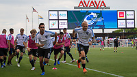 San Jose, CA - Tuesday June 11, 2019: Chris Wondolowski #8 and Magnus Eriksson #7 warm up before the US Open Cup match between the San Jose Earthquakes and Sacramento Republic FC at Avaya Stadium.