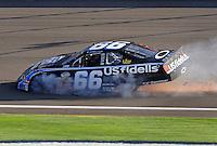 Oct. 10, 2009; Fontana, CA, USA; NASCAR Nationwide Series driver Steve Wallace after crashing during the Copart 300 at Auto Club Speedway. Mandatory Credit: Mark J. Rebilas-