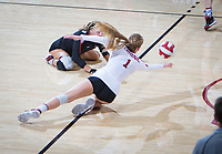 STANFORD, CA - November 4, 2018: Jenna Gray, Morgan Hentz at Maples Pavilion. No. 2 Stanford Cardinal defeated the Utah Utes 3-0.