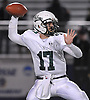 Francesco Anile #17, Locust Valley quarterback, throws a pass during the Nassau County varsity football Conference IV semifinals against Seaford at Hofstra University on Saturday, Nov. 12, 2016. Seaford won by a score of 28-14.