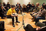 Veteran Robert Labita (L) and other participants take part in the Veteran-Civilian Dialogue at Intersections International on February 4, 2011 in New York City.  (PHOTOGRAPH BY MICHAEL NAGLE)