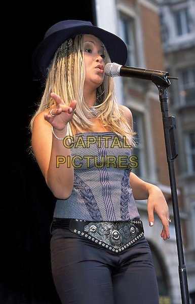 ZOE BIRKETT..Pop Idol launch of UK tour in Covent Garden ..Ref: 11581..trilby hat, singing, on stage, music, live, half length, half-length..www.capitalpictures.com..sales@capitalpictures.com..©Capital Pictures