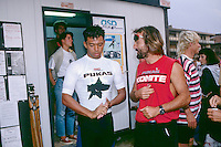 Sunny Garcia (HAW) with the owner of Pukas, Indigo after winning the 1990 Pukas Pro in Zarautz in the Basque region of Northern Spain. Photo: joliphotos.com