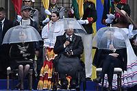 BOGOTÁ - COLOMBIA, 07-08-2018: Lenin Moreno, presidente de Ecuador,  durante la ceremonia de juramento en donde Ivan Duque, toma posesión como presidente de la República de Colombia para el período constitucional 2018 - 22 en la Plaza Bolívar el 7 de agosto de 2018 en Bogotá, Colombia. / Lenin Moreno, president of Ecuador,  during the swearing ceremony where Ivan Duque, takes office to constitutional term as president of the Republic of Colombia 2018 - 22 at Plaza Bolivar on August 7, 2018 in Bogota, Colombia. Photo: VizzorImage/ Gabriel Aponte / Staff