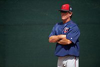 Minnesota Twins pitching coach Neil Allen (41) during a Spring Training practice on March 1, 2016 at Hammond Stadium in Fort Myers, Florida.  (Mike Janes/Four Seam Images)