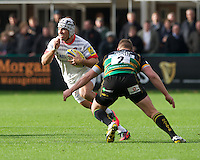 20121027 Copyright onEdition 2012©.Free for editorial use image, please credit: onEdition..Schalk Brits of Saracens looks to go round Dylan Hartley of Northampton Saints (right) as GJ van Velze of Northampton Saints supports during the Aviva Premiership match between Northampton Saints and Saracens at Franklin's Gardens on Saturday 27th October 2012 (Photo by Rob Munro)..For press contacts contact: Sam Feasey at brandRapport on M: +44 (0)7717 757114 E: SFeasey@brand-rapport.com..If you require a higher resolution image or you have any other onEdition photographic enquiries, please contact onEdition on 0845 900 2 900 or email info@onEdition.com.This image is copyright the onEdition 2012©..This image has been supplied by onEdition and must be credited onEdition. The author is asserting his full Moral rights in relation to the publication of this image. Rights for onward transmission of any image or file is not granted or implied. Changing or deleting Copyright information is illegal as specified in the Copyright, Design and Patents Act 1988. If you are in any way unsure of your right to publish this image please contact onEdition on 0845 900 2 900 or email info@onEdition.com