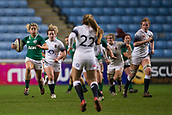 16th March 2018, Ricoh Arena, Coventry, England; Womens Six Nations Rugby, England Women versus Ireland Women; Ailsa Hughes of Ireland runs towards Zoe Harrison of England