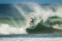 HONOLULU - (Friday, November 16, 2012) Tom Whitaker (AUS). -- Pumping Haleiwa delivered the goods at the REEF Hawaiian Pro today with incredible tube rides, aerials and pure power surfing. For the world's top professionals and the surf-stoked fans who flock to the North Shore, this is what the Vans Triple Crown of Surfing is known for: quality surfing in quality waves...Between the high-scoring heat of Australian Tom Whitaker, the mind-altering manoeuvres of Ventura's Dane Reynolds, the tube-riding finesse of Torrey Meister, and the iconic Clash of the Legends between Sunny Garcia (HAW) Mark Occhilupo (AUS), Tom Curren (USA) and Kiapo Jaquais (HAW) everyone went home fired up. Photo: joliphotos.com