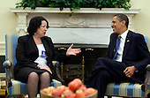 Washington, DC - (FILE) -- United States President Barack Obama meets with Judge Sonia Sotomayer in the Oval Office on May 21, 2009. The President nominated Judge Sotomayer to the U.S. Supreme Court on May 26, 2009..Mandatory Credit: Pete Souza - White House via CNP