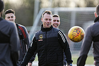 Pictured: Manager Michael Flynn. Thursday 18 January 2018<br /> Re: Players and staff of Newport County Football Club prepare at Newport Stadium, for their FA Cup game against Tottenham Hotspur in Wales, UK
