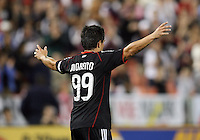 Jaime Moreno #99 of D.C. United after scoring during an MLS match against Toronto FC that was the final appearance of D.C. United's Jaime Moreno at RFK Stadium, in Washington D.C. on October 23, 2010. Toronto won 3-2.