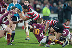 Fritz Lee gets tackled by Robbie Robinson.  ITM Cup & Ranfurly Shield rugby match between the Counties Manukau Steelers and the Southland Stags played at Rugby Park, Invercargill, on Saturday 14th of August, 2010..Southland won the game 13 - 9 after leading 11 - 6 at halftime.