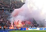 14.04.2018, OLympiastadion, Berlin, GER, 1.FBL, Hertha BSC VS. 1.FC Koeln, im Bild <br /> Koelner-Fanblock, Phyro<br /> <br /> <br />       <br /> Foto &copy; nordphoto / Engler