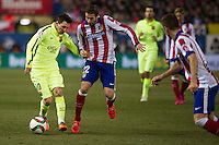 Atletico de Madrid´s Cani and Barcelona´s Lionel Messi during 2014-15 Spanish King Cup match between Atletico de Madrid and Barcelona at Vicente Calderon stadium in Madrid, Spain. January 28, 2015. (ALTERPHOTOS/Luis Fernandez) /nortephoto.com<br />