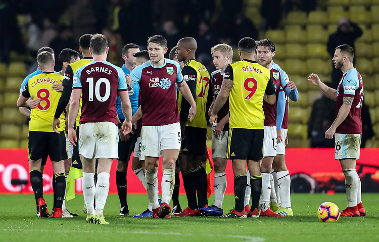 Players from both sides shake hands at the end of the match<br /> <br /> Photographer Andrew Kearns/CameraSport<br /> <br /> The Premier League - Watford v Burnley - Saturday 19 January 2019 - Vicarage Road - Watford<br /> <br /> World Copyright &copy; 2019 CameraSport. All rights reserved. 43 Linden Ave. Countesthorpe. Leicester. England. LE8 5PG - Tel: +44 (0) 116 277 4147 - admin@camerasport.com - www.camerasport.com