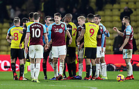 Players from both sides shake hands at the end of the match<br /> <br /> Photographer Andrew Kearns/CameraSport<br /> <br /> The Premier League - Watford v Burnley - Saturday 19 January 2019 - Vicarage Road - Watford<br /> <br /> World Copyright © 2019 CameraSport. All rights reserved. 43 Linden Ave. Countesthorpe. Leicester. England. LE8 5PG - Tel: +44 (0) 116 277 4147 - admin@camerasport.com - www.camerasport.com