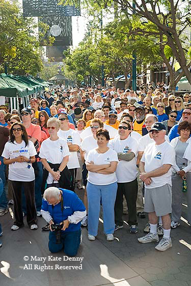 NAMI (National Alliance for Mental Illness) Walk crowd prepares to walk to raise awareness and educate public in mental health in Santa Monica, CA.