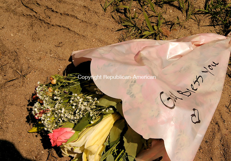 """BLOOMFIELD, CT - 30 JULY 2005 -073005JS02-- Flowers with the message """"God bless you"""" were laid on the side of the road where a multiple fatal accident occured in Avon.   --Jim Shannon Photo--Avon,   are CQ"""