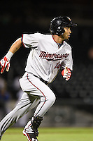 Salt River Rafters outfielder Eddie Rosario (16) during an Arizona Fall League game against the Mesa Solar Sox on October 18, 2014 at Cubs Park in Mesa, Arizona.  Mesa defeated Salt River 8-4.  (Mike Janes/Four Seam Images)