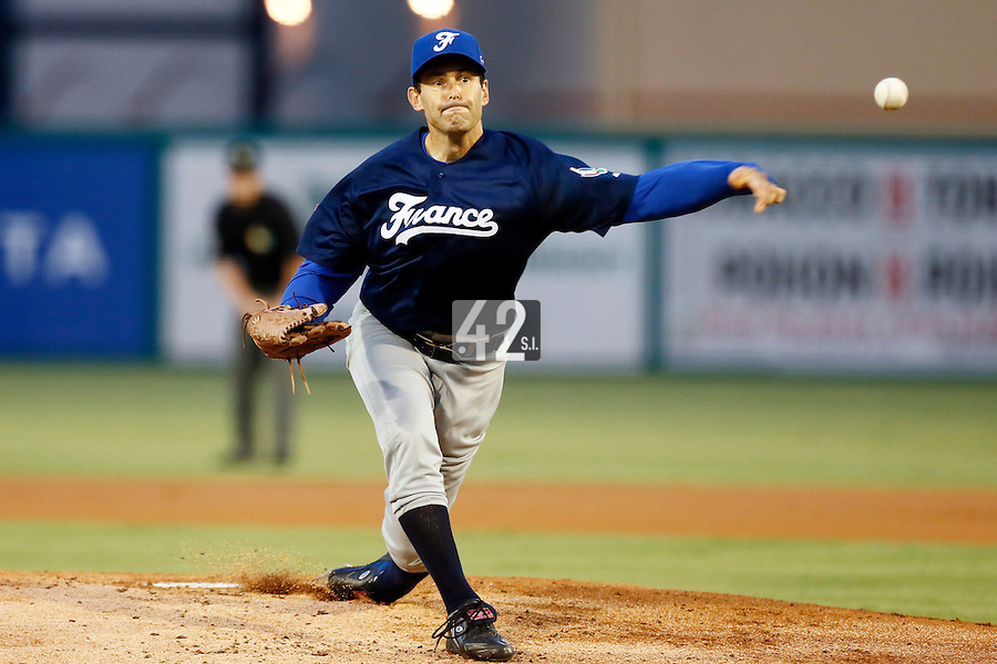 20 September 2012: Starting pitcher Patrice Briones pitches against Spain during Spain 8-0 win over France, at the 2012 World Baseball Classic Qualifier round, in Jupiter, Florida, USA.