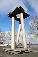 Nederland Nijmegen 2016 02 25. Sculptuur op de Waalkade van Ari Berkulin.  Foto Berlinda van Dam / Hollandse Hoogte