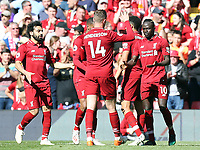 Liverpool's Sadio Mane (right) celebrates with team-mates after scoring his side's second goal <br /> <br /> Photographer Rich Linley/CameraSport<br /> <br /> The Premier League - Liverpool v Wolverhampton Wanderers - Sunday 12th May 2019 - Anfield - Liverpool<br /> <br /> World Copyright © 2019 CameraSport. All rights reserved. 43 Linden Ave. Countesthorpe. Leicester. England. LE8 5PG - Tel: +44 (0) 116 277 4147 - admin@camerasport.com - www.camerasport.com