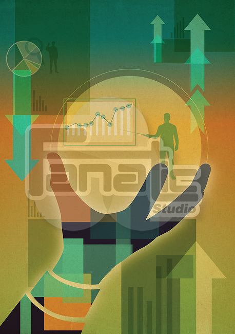 Illustrative image of hand holding sphere with businessman explaining graph in it represents ups and downs