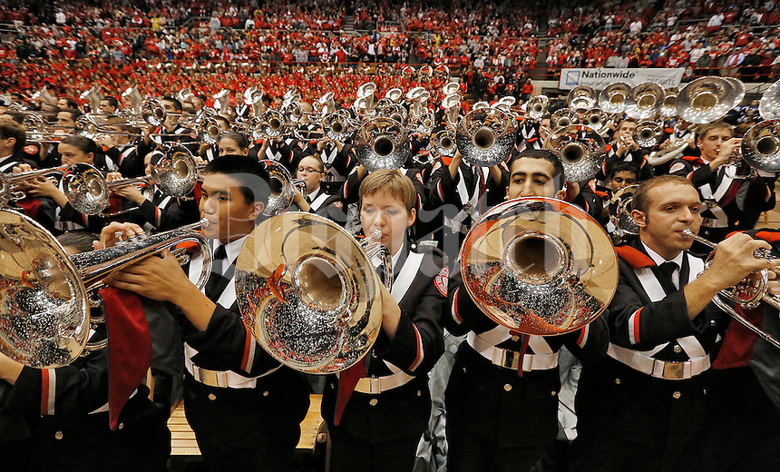 The OSU Marching Band plays for fans and the team at the Skull Session prior to the game against Iowa at Ohio Stadium on October 19, 2013.  (Chris Russell/Dispatch Photo)
