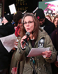Sally Field attend The Ghostlight Project to light a light and make a pledge to stand for and protect the values of inclusion, participation, and compassion for everyone - regardless of race, class, religion, country of origin, immigration status, (dis)ability, gender identity, or sexual orientation at The TKTS Stairs on January 19, 2017 in New York City.