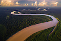 Bolivia, Beni Department, aerial view of Madre De Dios River winding through pristine Amazonian rainforest