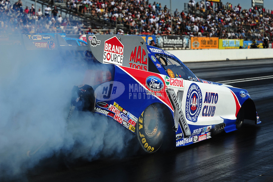 Feb. 19, 2010; Chandler, AZ, USA; NHRA funny car driver Robert Hight during qualifying for the Arizona Nationals at Firebird International Raceway. Mandatory Credit: Mark J. Rebilas-