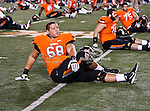 Oklahoma State Cowboys offensive linesman Lane Taylor (68) in action before the game between the Oklahoma Sooners and the Oklahoma State Cowboys at the Boone Pickens Stadium in Stillwater, OK. Oklahoma State defeats Oklahoma 44 to 10..