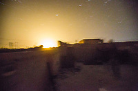 August 2017. Raqqa, Syria.<br /> A US Airstrike lands close to the MFS nocter during heavy clashes with ISIS on the front lines of western Raqqa. <br /> The MFS (Syriac Military Council) are a group of Assyrian Christians who fight alongside the Syrian Democratic Forces in the fight to topple ISIS.<br /> Photographer: Rick Findler